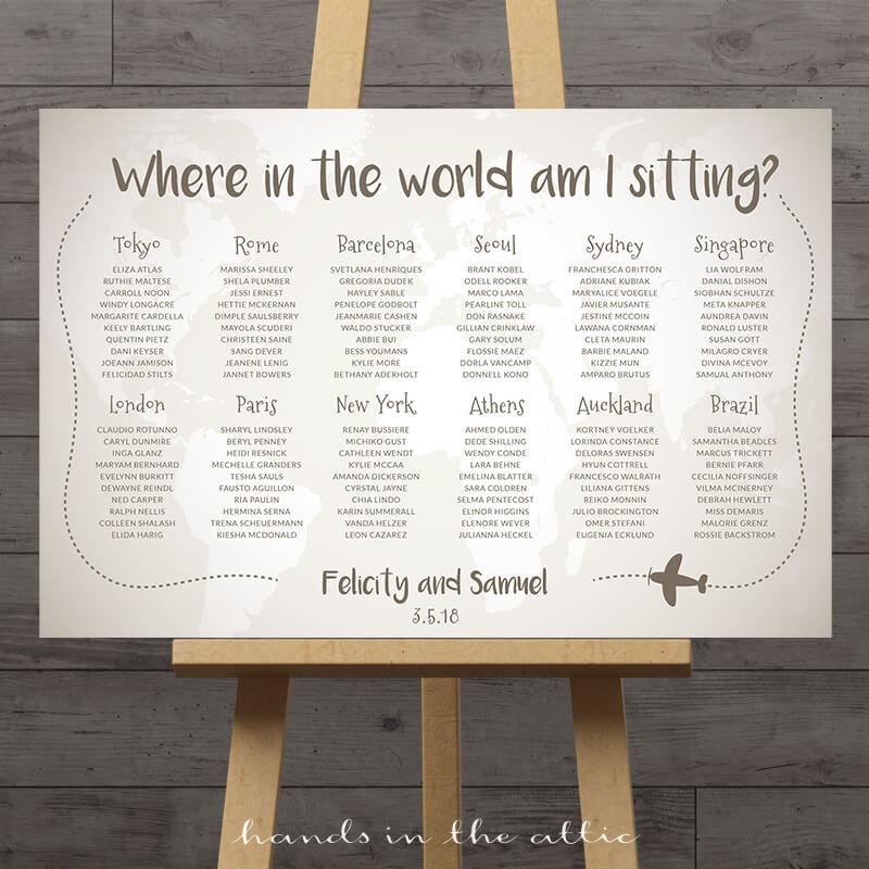 World Map Wedding Seating Chart Travel Theme City