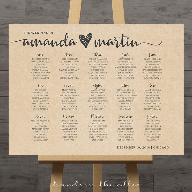 Rustic Wedding Seating Chart Ideas: Large Wedding Seating Chart Printable Guest Table