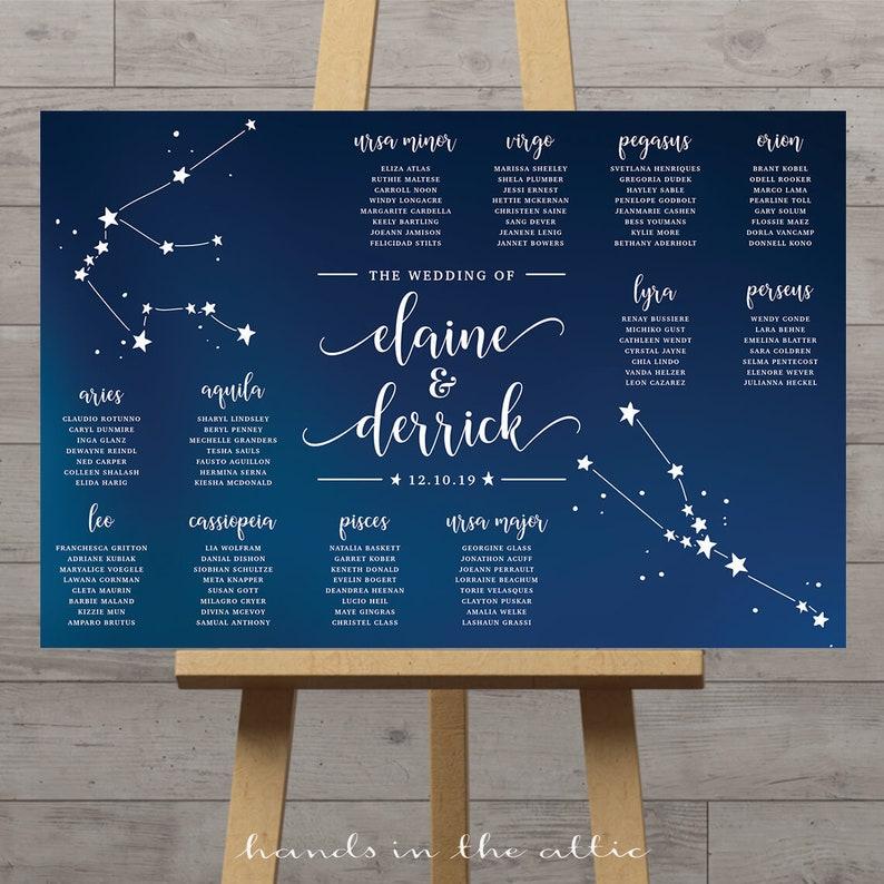 Tema Matrimonio Segni Zodiacali : Tableau di nozze celesti tabella di ricezione dello zodiaco etsy