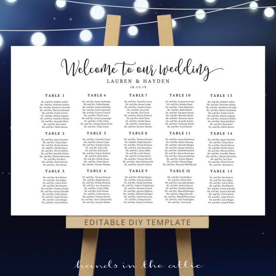 Wedding Welcome Seating Plan Template Reception Table Chart Pdf
