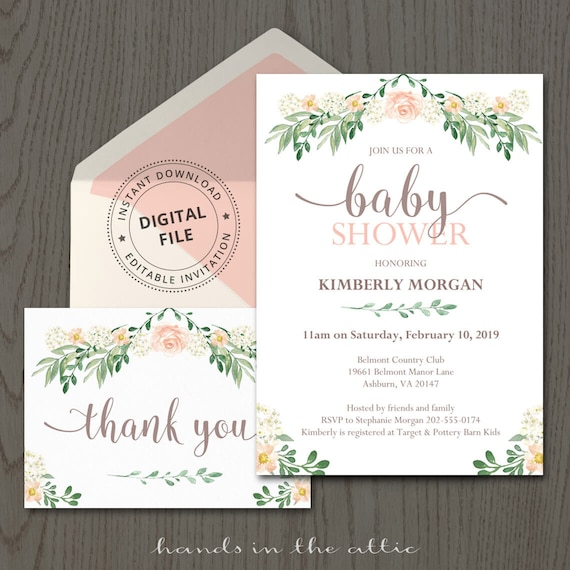 Floral baby shower invitations spring baby shower etsy image 0 filmwisefo