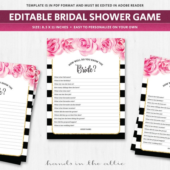 Know The Bride Shower Game Template Quiz Questionnaire