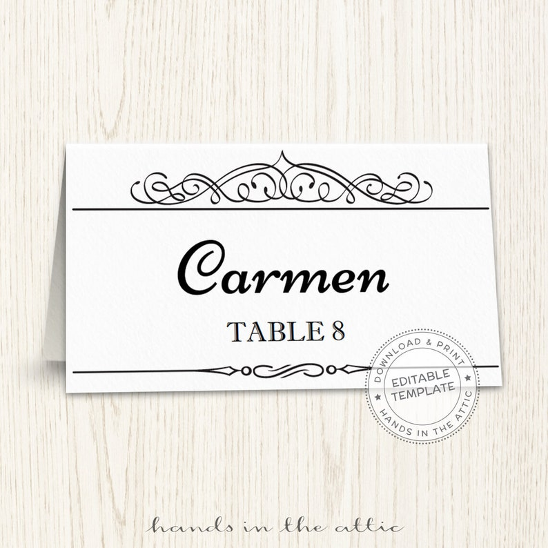 image about Printable Seating Cards identify Printable level playing cards template, editable seating playing cards, wedding ceremony visitor playing cards, calligraphic black and white escort card, Electronic obtain, PDF