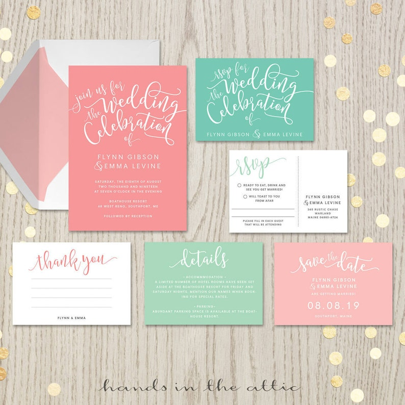 Coral Mint Wedding Invitation Kits Suites Sets Salmon Blush Etsy