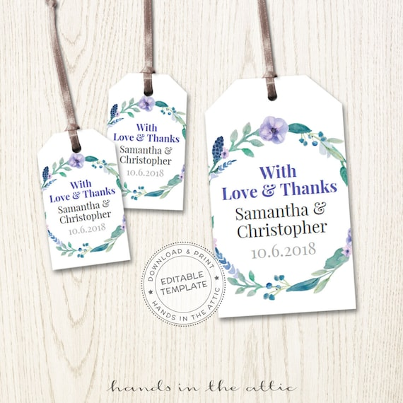 Custom Personalized Thank You Tags 2x3 \u2022 INSTANT DOWNLOAD \u2022 Printable Wedding Favor Tags 100/% Editable Template \u2022 Try Before You Buy!