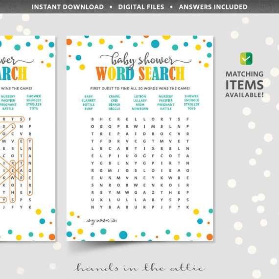 Baby Shower Games Word Search Puzzle Template Card With Answer Key
