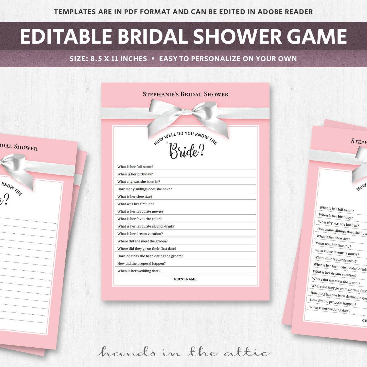 Bridal Shower Quiz Download For Guests Trivia Questions