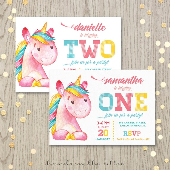 Printable Unicorn Birthday Party Invitation First Birthday Etsy