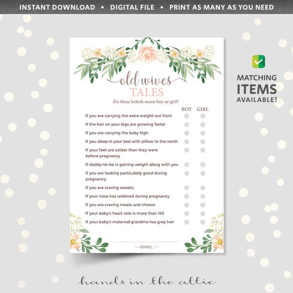 Baby shower old wives tale trivia game quiz, baby myth fact or fiction,  true or false questions, printable download pdf, pink floral girl