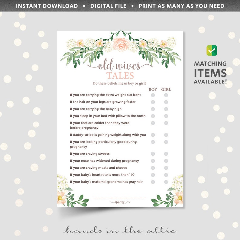 Baby Shower Old Wives Tale Trivia Game Quiz Baby Myth Fact Or Etsy