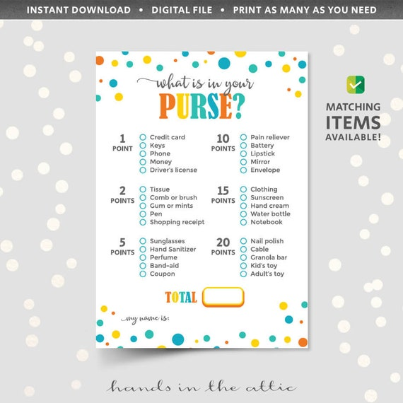 photo relating to Free Printable Money Bands named Whats within just your purse scavenger hunt recreation, rely details inside of your handbag bag, PRINTABLE child shower video game immediate obtain pdf