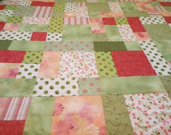 Green, Mauve, Pink, and White Queen Sized Quilt Top