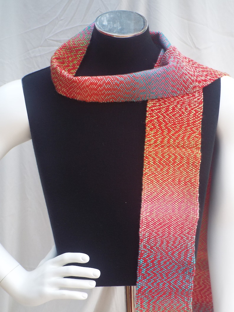 Hand Woven Scarf Twirl Of Red Yellow Green Blue And Pink Etsy