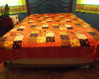 Queen Sized Autumn Quilt Top - Orange, Green, Black, Yellow, and Cream