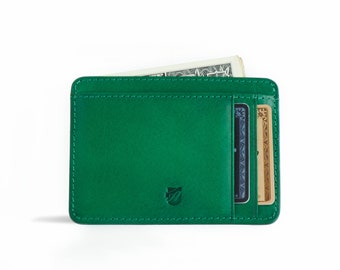 Front pocket wallet, Minimalist Wallet, ID wallet in Tuscany Vegetable tanned leather. RFID-blocking, Designed in Sweden, Free US Shipping