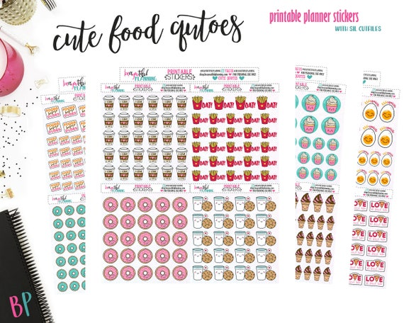 Cute Food Quotes  Planner Stickers   Functional Stickers   Planner  Printable   Printable Planner Stickers