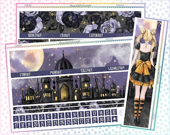 Moonlight Monthly Printable Planner Stickers - EC - A5 Wide - Transparent PNGs for Cricut - Bleed Area w/Silhouette Cut Line