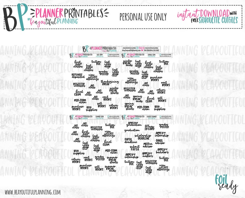 College Planner Printable | Planner Stickers | Foil Ready | For use with Erin Condren | TN | Happy Planner | Cut Lines | Instant Download