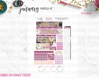 January Monthly | Printable Planner Kit | Planner Stickers | Cut Lines | for use with B6 TN Inserts | Planner Stickers Printables