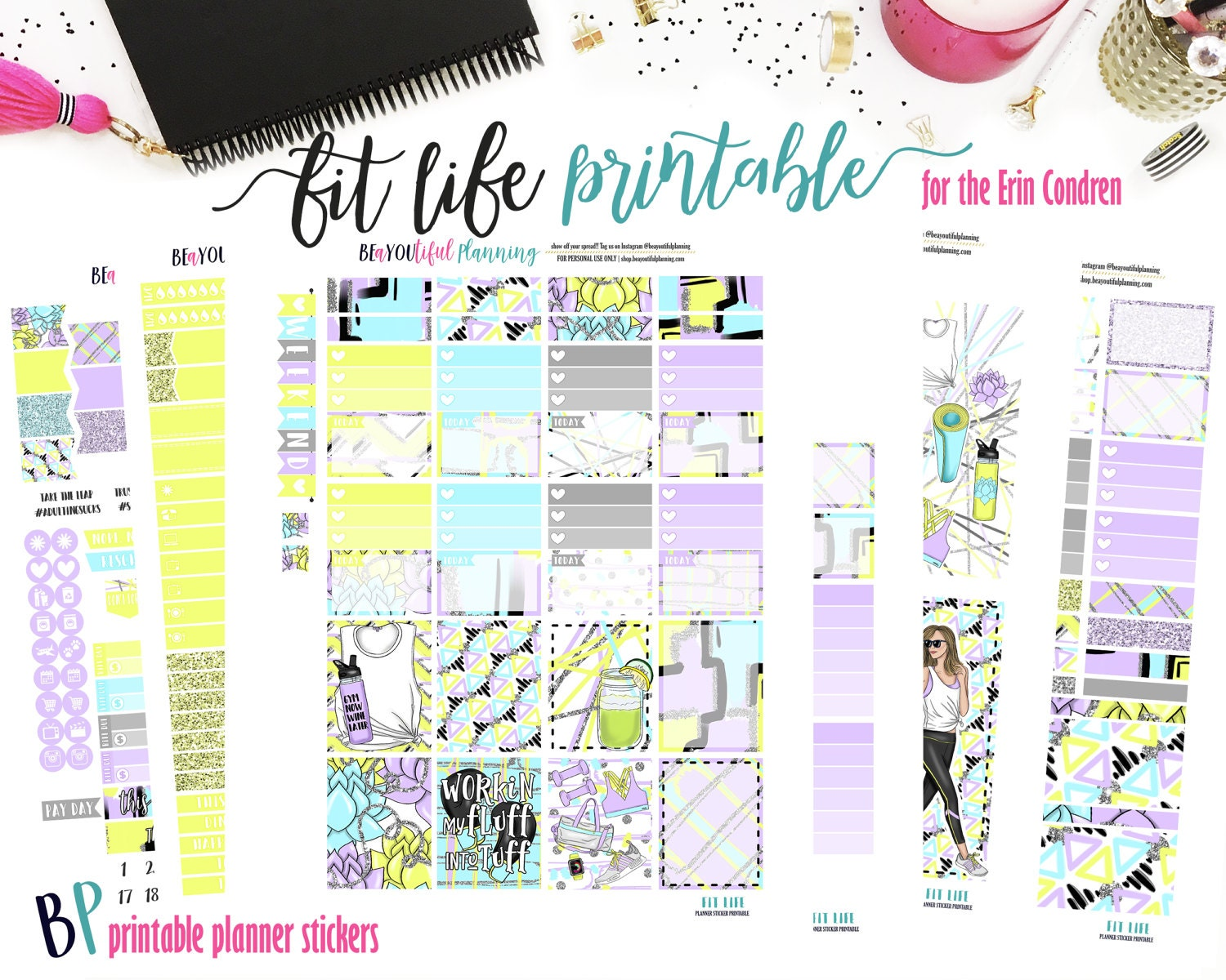 Fit Life | Weekly Printable Planner Kit | Planner Stickers | Cut Line Files  | for use with Erin Condren | Planner Stickers Printables