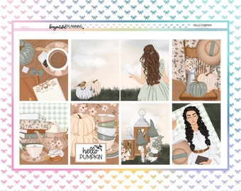 Hello Pumpkin Weekly | EC | A5 Wide | Printable Planner Stickers | Transparent PNGs for Cricut | Bleed Area w/Silhouette Cut Line