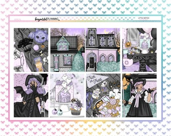 Little Witch Weekly | EC | A5 Wide | Printable Planner Stickers | Transparent PNGs for Cricut | Bleed Area w/Silhouette Cut Line