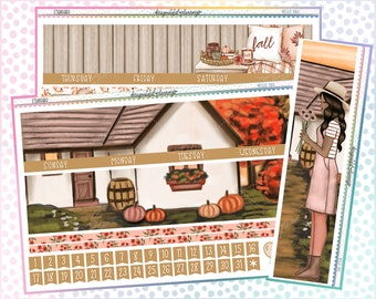 Hello Fall Monthly Printable Planner Stickers - EC - A5 Wide - Transparent PNGs for Cricut - Bleed Area w/Silhouette Cut Line