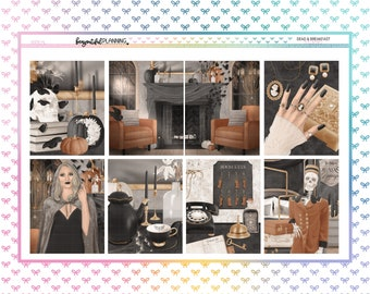 Dead & Breakfast Weekly | EC | A5 Wide | Printable Planner Stickers | Transparent PNGs for Cricut | Bleed Area w/Silhouette Cut Line
