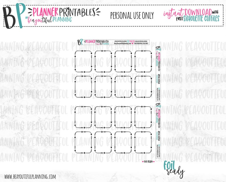 Arrow Overlays Foil Ready | Printable Planner Stickers | For use with Erin  Condren | TN | Recollections | Cut Lines | Clear Overlay Foil