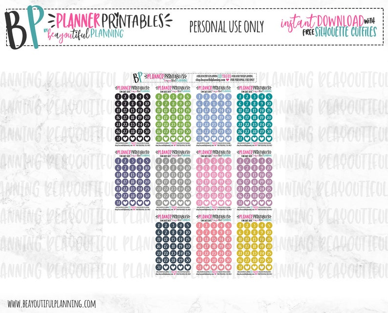 Tiny Date Dots Printable Functional Planner Stickers Etsy
