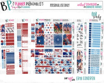 America Weekly Kit | Planner Stickers | Printable PDFs | Cut Line Files | for use with Erin Condren | TN | Instant Download | Foil Ready