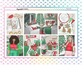 Christmas Prep Weekly | EC | A5 Wide | Printable Planner Stickers | Transparent PNGs for Cricut | Bleed Area w/Silhouette Cut Line