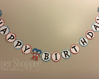 Happy birthday banner inspired thing one thing two dr suess