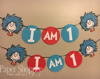Thing one or thing two inspired  dr suess high chair banner