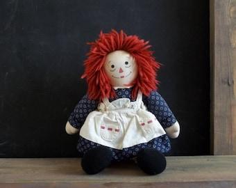 Vintage Raggedy Ann Rag Doll Plush Baby Kids Toy Room Birthday Christmas Gift Cotton Cloth Red Blue White Colors Farmhouse Rustic Dolls