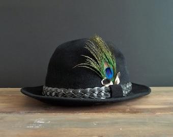 Black Fedora Hat Vintage Unisex Hat Retro Clothes Head Clothing Fashion Hat  Leather Braid 1950 Costume Cosplay Fur Felt Bobby Lee Hats Royal cc514c2fb134