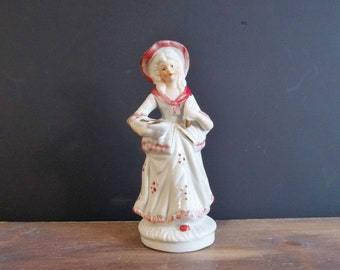 Porcelain Courtisan Vintage Collectible Red White Gold Colors Victorian Figurine Mid Century 1960's Renaissance Collection Statuette