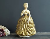 Rotating Music Box Porcelain Figurine Musical Colonial Lady quot Love Story quot Song Victorian Woman Vintage Sculpture Mother 39 s Day Gift by Sankyo