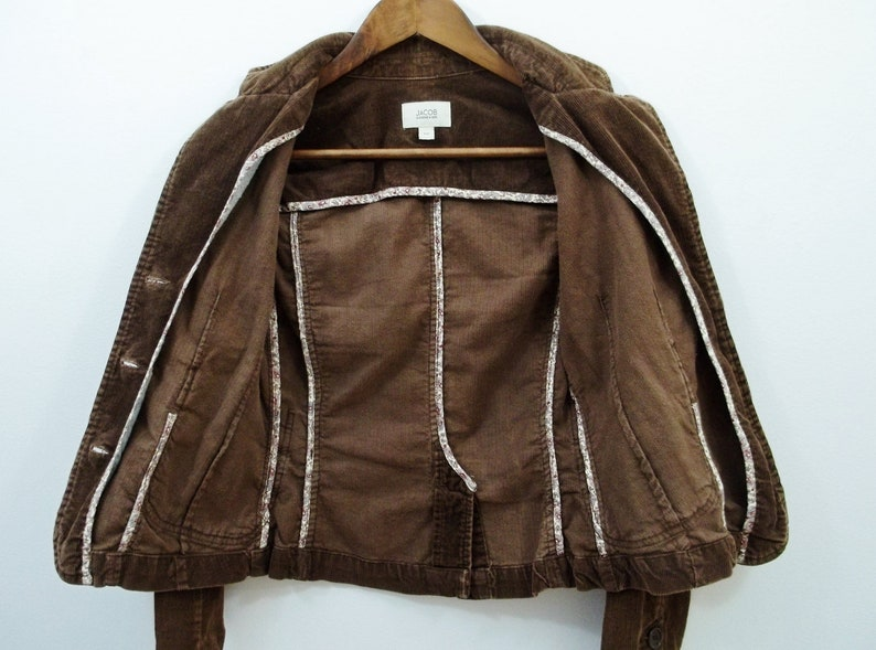 Petite Brown Corduroy Blazer Vintage Women Coat Girl Jacket w Buttons Outdoor Clothing Spring Fall Outwear Cotton Clothes US Size 1-2 XS