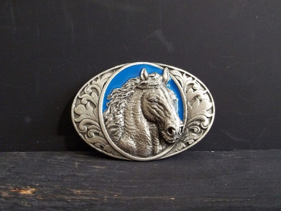 Running Horse Belt Buckle Gold 3d Black Oval Unisex Western Us Style New Fashion