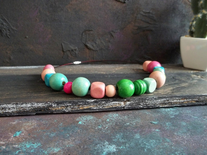 Vintage Necklace Rainbow Jewel Pastel Colors Wooden Jewelry Round Square Beads Bohemian Style Women Jewel Summer Necklace Girlfriend Gift