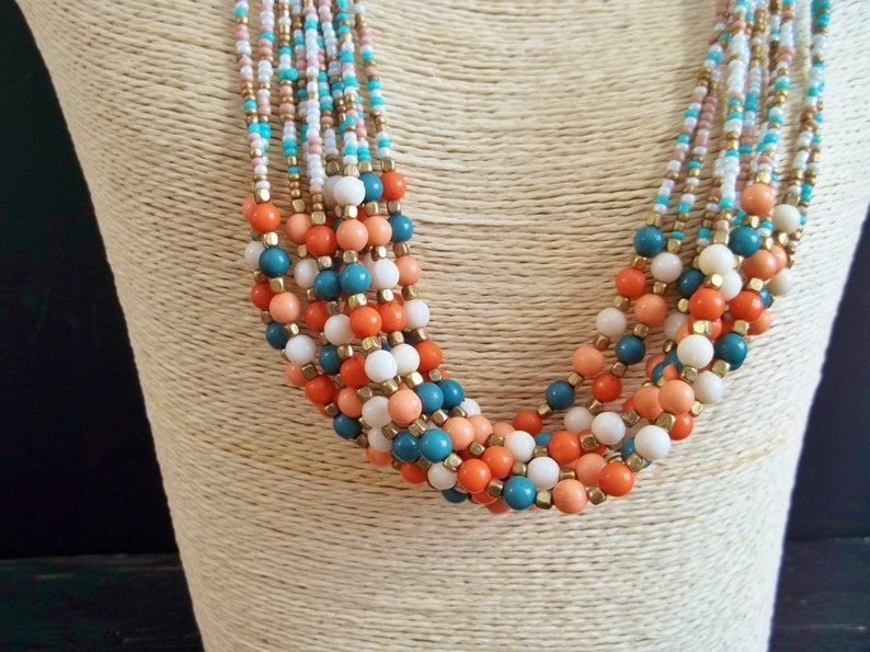 Summer Necklace Multi Strands Jewel Vintage Jewelry Orange Aqua Beige Colors Plastic Beads Bohemian Style Gypsy Women Mother/'s Day Gift