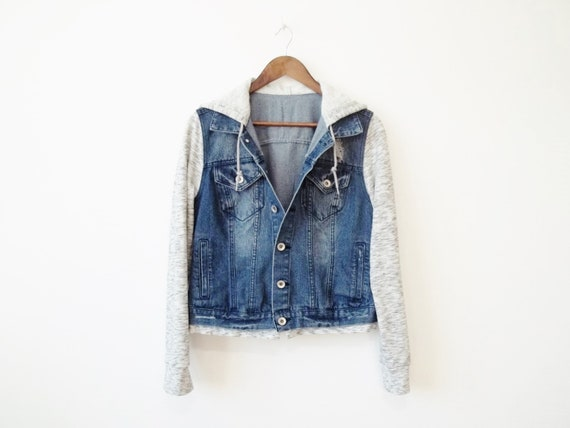 Hooded Coat Blue Jeans Distress Denim Jacket Vinta