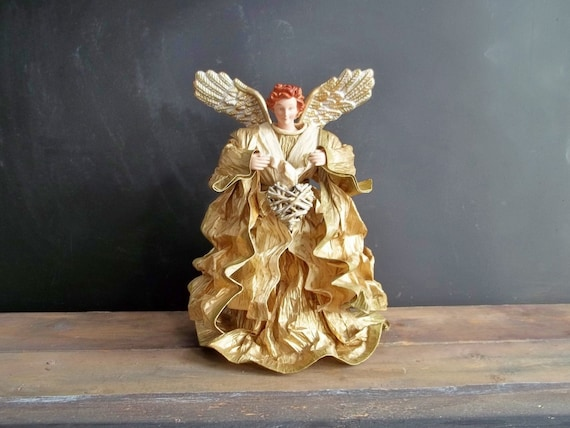 Paper Golden Angel Christmas Tree Topper Table Decoration