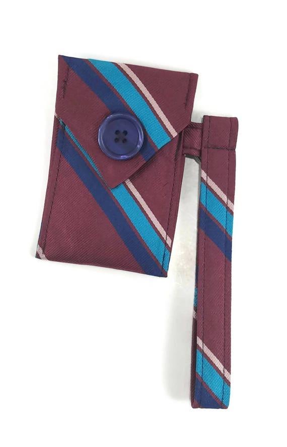 Repurposed Tie Upcycled Necktie Purse Purple /& Gray Striped Wristlet