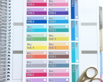Quarter Box Bill Due Functional Planner Stickers! Perfect for your EC Life Planner, Inkwell Press, Day Designer, Calendar, ETC.