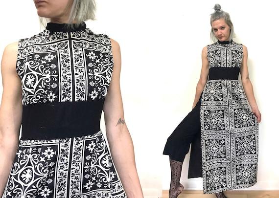 Small Black and White Maxi Dress 70s Maxi Dress Hi