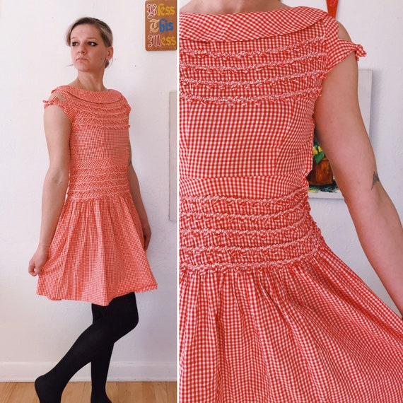 XS - 1950s Red and White Checkerboard Gingham Dres
