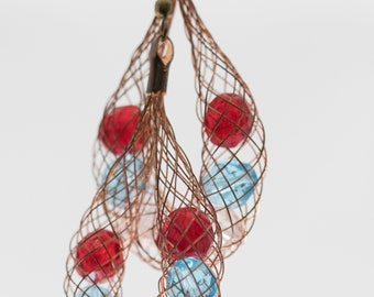 Basket Woven Red White and Blue Copper Earrings