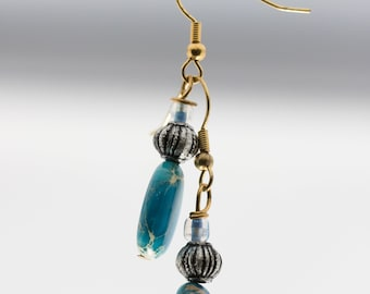 Teal and Gold Earrings